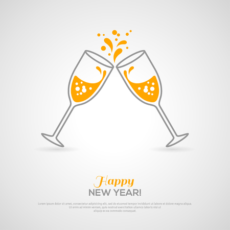 new year: Sparkling champagne glasses. Vector illustration. Minimalistic concept with line style glass and sparkling champagne inside. Place for your text message.