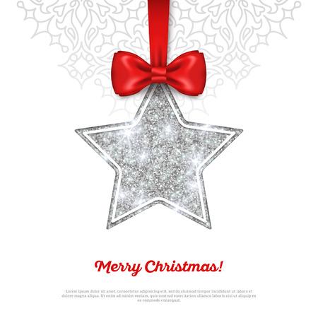 seasons greetings: Biglietto di auguri con brillante Silver Star bagattella e Red Silk Ribbon. Illustrazione vettoriale. Buon Anno, Buon Natale, Seasons Greetings.