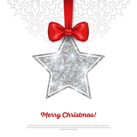 silver: Greeting Card with Shining Silver Star Bauble and Red Silk Ribbon. Vector illustration. Happy New Year, Merry Christmas, Seasons Greetings.