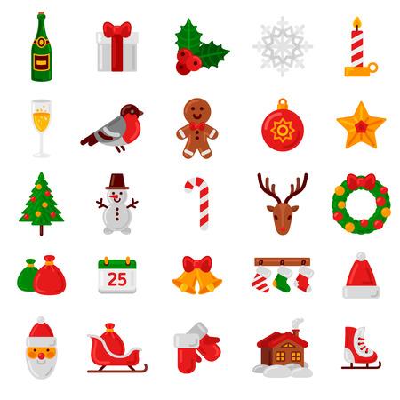 symbol: Set di appartamento icone di Natale. Illustrazione vettoriale. Segnali vacanza e simboli. Felice Anno Nuovo Icone. Albero di Natale, Candy Can, Babbo Natale, Holly Berry, Gingerbread Man e House.