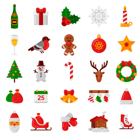 sledge: Set of Flat Christmas Icons. Vector Illustration. Holiday Signs and Symbols. Happy New Year Icons. Christmas Tree, Candy Can, Santa Claus, Holly Berry, Gingerbread Man and House.