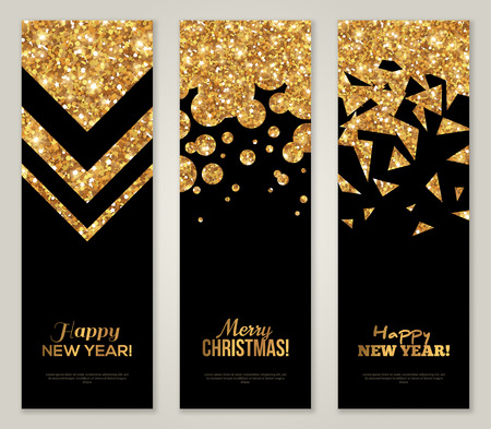 foil: Vertical Back and Gold Banners Set, Greeting Card Design. Golden Foil Geometric Shapes. Vector Illustration. Happy New Year Poster Invitation Template. Merry Christmas Season Greetings. Illustration