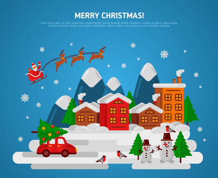 santas sleigh: Winter Evening Village Street with Flying Sledge Reindeer and Santa, Car and Snowman. Vector Illustration. Bullfinch, Christmas Tree with Balls. Mountains Town Flat Landscape, Christmas Holidays