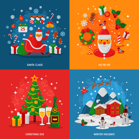 winter fun: New Year and Christmas Concepts Set. Flat Winter Fun Holiday Design. Vector illustration. Winter Evening Village Street with Flying Sledge. Christmas Tree Gifts and Champagne. Santa Claus Presents.