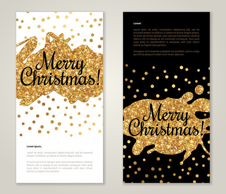 gold: Modern Greeting Card Design with Golden Paint Stains and Polka Dots. Vector Illustration. Gold Brush Stroke. Happy New Year 2016 Poster Invitation Template. Place for your text