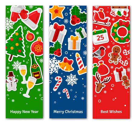 Merry Christmas Vertical Banners Set With Flat Sticker Icons. Vector Flat Illustration.  Happy New Year Concept. Season Greetings. Concept for web banners and promotional materials.