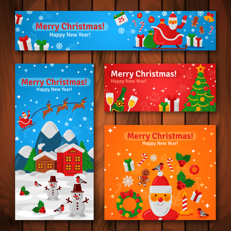 new year greeting: Flat Design Christmas and New Year Greeting Cards and Banners. Vector Illustration. Santa Claus and New Year Gifts. Evening Mountain Town. Wooden Background. Illustration