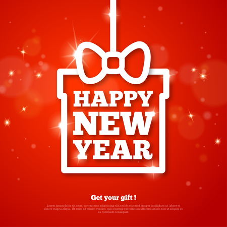 red sign: Christmas Gift with Happy New Year Greetings. Vector Illustration. Red Christmas Shining Background with Flare Lights and Sparkles. Clean Modern Holiday Poster Design. Place for Text. Creative Frame. Illustration