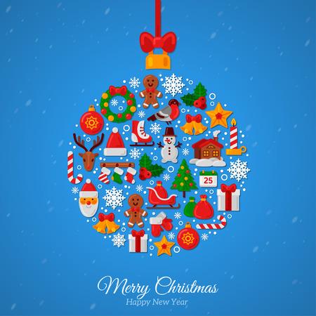 Bola de Navidad ensambla a partir de iconos de la Navidad. Arco de la cinta roja. Nuevos regalos de Año y caramelo en el fondo azul. Estilo plano. Ilustración del vector. De Santa y reno Foto de archivo - 46619366