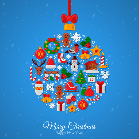 Christmas Ball Assembled from Christmas Icons. Red Ribbon Bow. New Year Gifts and Candy on Blue background. Flat style. Vector Illustration. Santa and Reindeer Vettoriali