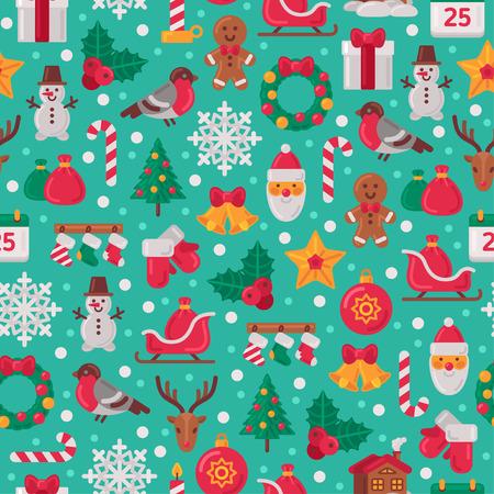 Seamless Pattern con Natale icone piane. Illustrazione vettoriale. Albero di Natale e fiocchi di neve, Babbo Natale, Candy Cane, regali per le vacanze invernali design. Wrapping Grana carta. Vettoriali