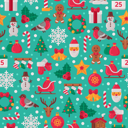wrappings: Seamless Pattern with Christmas Flat Icons. Vector Illustration. Christmas Tree and Snowflakes, Santa Claus, Candy Cane, Gifts for Winter Holidays Design. Wrapping Paper Texture.