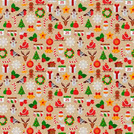 silueta hombre: Patr�n sin fisuras con las de Navidad planas Iconos. Ilustraci�n del vector. �rbol de navidad y copos de nieve, Santa Claus, bast�n de caramelo, regalos para Vacaciones de Invierno Dise�o. Textura del papel de envolver.
