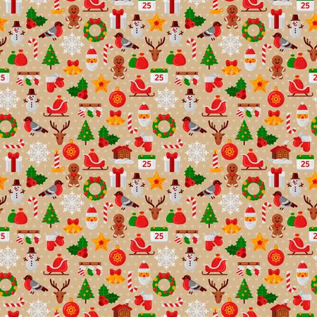 tree design: Seamless Pattern with Christmas Flat Icons. Vector Illustration. Christmas Tree and Snowflakes, Santa Claus, Candy Cane, Gifts for Winter Holidays Design. Wrapping Paper Texture.