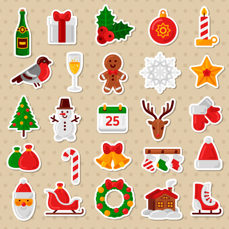 christmas icon: Merry Christmas Flat Icons. Vector Illustration. Happy New Year Stickers. Candy Cane, Christmas Tree, Candle, Gingerbread Man, Bullfinch Bird, Champagne and Wineglass