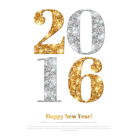 gold numbers: Happy New Year 2016 Greeting Card with Gold and Silver Numbers. Vector Illustration. Merry Christmas Flyer Design, Brouchure Cover, Poster. Minimalistic Invitation Design. Illustration