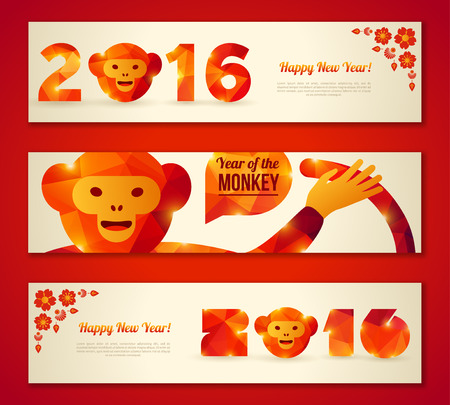 chinese new year decoration: Set of Horizontal Banners with Funny Monkey. Vector Illustration. Symbol of 2016 Chinese New Year. 2016 Numbers with Triangles Pattern. Chinese Floral Sakura Decor. Place for Your Text Illustration