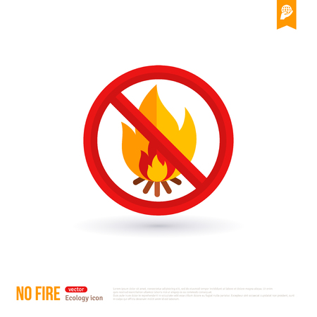burn: No bonfire vector colorful icon. No fire outdoor sign for hiking tourism. Prohibitory sign isolated on white