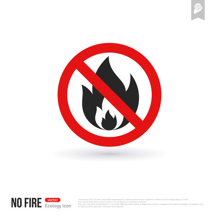 forewarn: No bonfire vector icon. No fire outdoor sign for hiking tourism. Prohibitory sign isolated on white Illustration