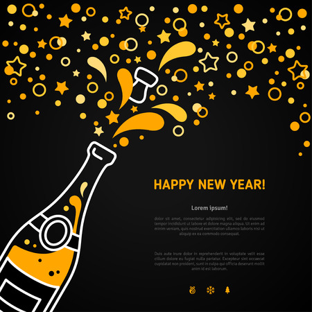 champagne celebration: Happy New Year 2016 greeting card or poster design with minimalistic line flat champagne explosion bottle and place for your text message. Vector illustration. Stars and particles foam splash. Illustration