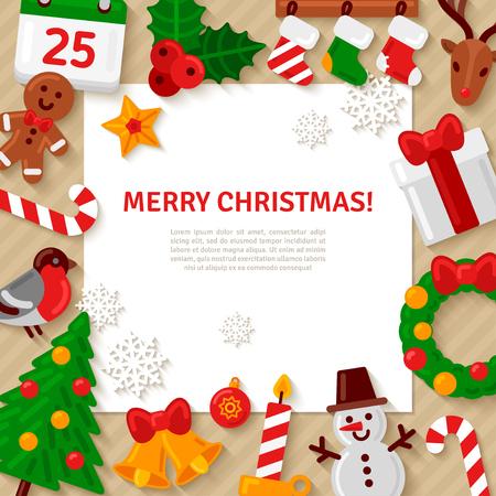De vrolijke achtergrond van Kerstmis met vlakke pictogrammen Kerstmis en Witte Vierkant Frame. Vector Illustratie. Gelukkig Nieuwjaar Concept. Candy Cane, kerst boom, Kaars, Gingerbread Man. Plaats voor uw tekst Stock Illustratie