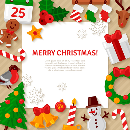Merry Christmas Background with Flat Christmas Icons and White Square Frame. Vector Illustration. Happy New Year Concept. Candy Cane, Christmas Tree, Candle, Gingerbread Man. Place for Your Text