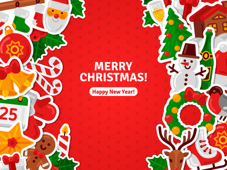 concept background: Merry Christmas Banner Flat Christmas Icons Stickers. Vector Illustration.  Happy New Year Concept. Candy Cane, Christmas Tree, Candle, Gingerbread Man. Place for Your Text