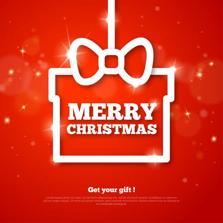 Gift with Merry Christmas Greetings. Vector Illustration. Happy New Year. Red Shining Background with Flare Lights and Sparkles. Clean Modern Holiday Poster Design. Place for Text. Creative Frame. Illustration