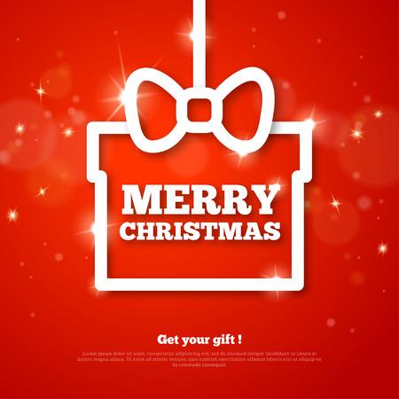 fondo rojo: Regalo con saludos Feliz Navidad. Ilustraci�n del vector. Feliz a�o nuevo. Fondo brillante rojo con la llamarada de luces y chispas. Cartel Clean Holiday Moderno. El lugar de texto. Marco creativo.