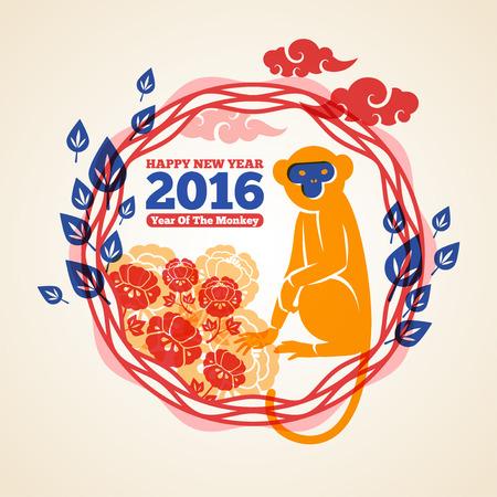 flores chinas: 2016 Tarjeta de felicitaci�n del A�o Nuevo Lunar. Ilustraci�n del vector. A�o chino del mono. Sentado mono S�mbolo del zodiaco con tradicionales Sakura Flores y nubes en Frame.