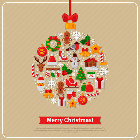 year greetings: Christmas Ball Assembled from Christmas Icons. Red Ribbon Bow. New Year Gifts and Candy on Beige Background. Flat style. Vector Illustration. Santa and Reindeer. Christmas Wreath. Season Greetings.