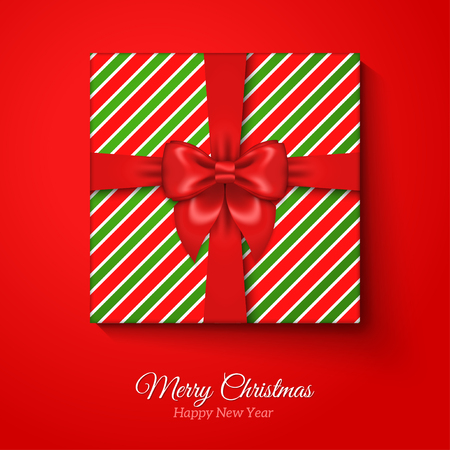 Merry christmas greeting card with christmas gift box res silk merry christmas greeting card with christmas gift box res silk ribbon bow and striped wrapping negle Image collections