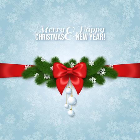 moños de navidad: Feliz Año Nuevo y Feliz Navidad Diseño. Ilustración del vector. Lazo de seda roja con ramas de árbol de pino, copos de nieve de papel y pelotas. Smooth Telón de fondo azul con las nevadas. Saludos de la estación. Vectores