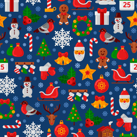 christmas gifts: Seamless Pattern with Christmas Flat Icons. Vector Illustration. Christmas Tree and Snowflakes, Santa Claus, Candy Cane, Gifts for Winter Holidays Design. Wrapping Paper Texture.