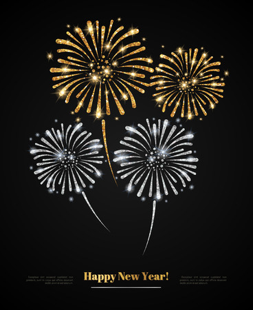 gold silver: Vector gold and silver fireworks on black background. Gold Glitter Texture, Sequins Pattern. Lights and Sparkles. Glowing Celebration New Year or Christmas Holiday Backdrop. Place for your text.