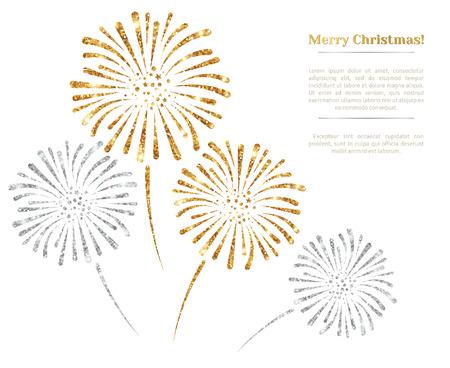 fuegos artificiales: vector de fuegos artificiales de oro y plata sobre fondo blanco. Ilustración del vector. La textura brillo del oro, patrón de las lentejuelas. Luces y chispas. Resplandeciente Año Nuevo o telón de fondo de Navidad. El lugar de texto.