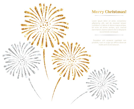 gold silver: Vector gold and silver fireworks on white background. Vector illustration. Gold Glitter Texture, Sequins Pattern. Lights and Sparkles. Glowing New Year or Christmas Backdrop. Place for text.