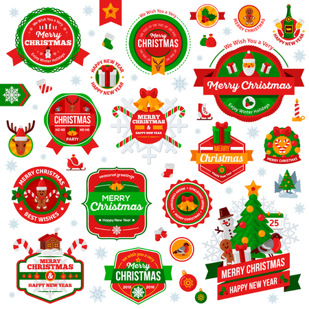 campanas navide�as: Conjunto De Vintage Feliz A�o Nuevo y Feliz Navidad Insignias y Etiquetas. Navidad del libro de recuerdos Conjunto. Cintas, iconos planos y otros elementos. Ilustraci�n del vector. Caracteres lindos de Navidad. Saludos de la estaci�n.