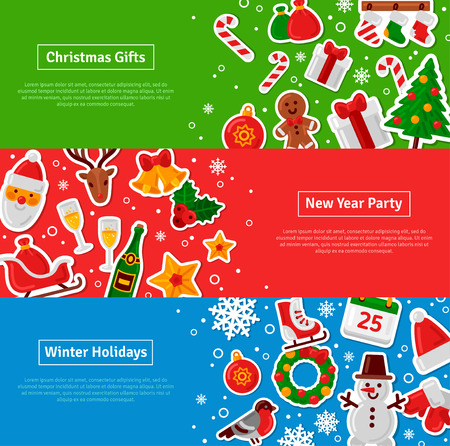 christmas icon: Merry Christmas Horizontal Banners Set With Flat Sticker Icons. Vector Flat Illustration. Happy New Year Concept. Season Greetings. Concept for web banners and promotional materials.