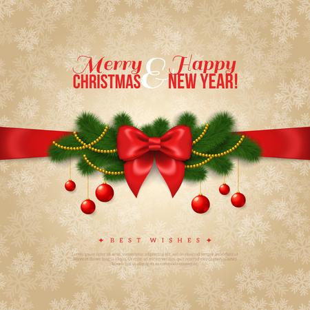 feestelijk: Gelukkig Nieuwjaar en Vrolijke Kerstmis Design. Vector Illustratie. Rode Zijde Boog met Pine Tree Takken, gouden slingers en ballen. Glad Beige Achtergrond met sneeuwvlokken. Fijne feestdagen.