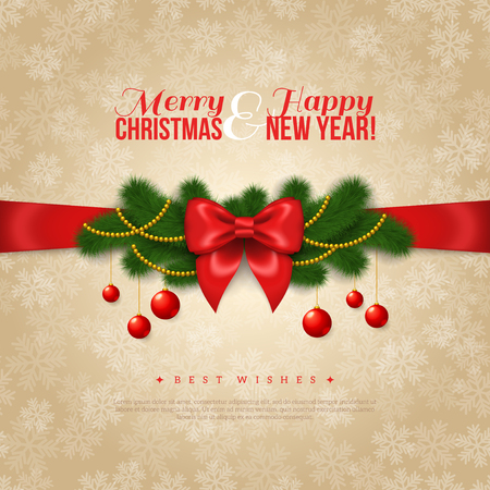 season: Happy New Year and Merry Christmas Greeting Card Design. Vector Illustration. Red Silk Bow with Pine Tree Branches, Golden Garlands and Balls. Smooth Beige Backdrop with Snowflakes. Season Greetings. Illustration