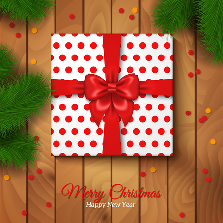 christmas gift: Christmas Gift Box Wrapping with Red Bow and Polka Dot Paper. Vector Illustration. Confetti. Wooden Floor Background. Present under Christmas Tree. Spruce branches. Place for Text.