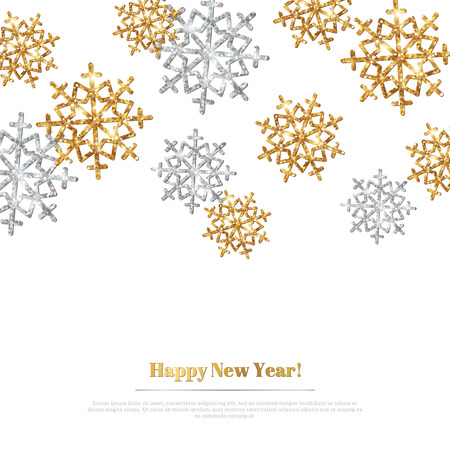 Merry Christmas Background with Gold and Silver Snowflakes. Vector Illustration. Gold Glitter Texture, Sequins Pattern. Glowing Sparkles New Year or Christmas Backdrop. Season Greetings Banner Vettoriali