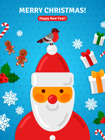 siting: Merry Christmas Greeting Card or Poster Concept with Santa Claus Portrait. Bullfinch Siting on Santas Hat.Gift Box, Candy Cane, Gingerbread Man, Snowflakes.