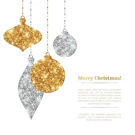 glitter ball: Merry Christmas Background with Silver and Gold Hanging Baubles. Illustration