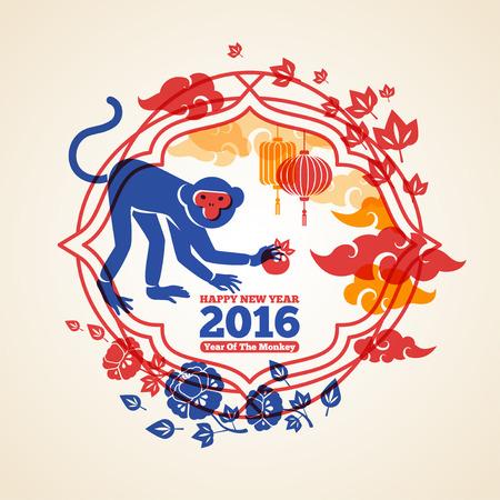 flores chinas: China 2016 del A�o Nuevo Concepto Creativo con mono colorido y melocot�n. Vectores