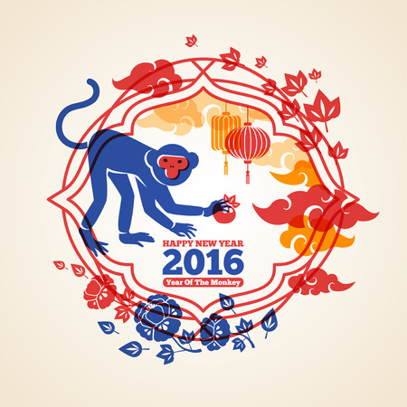 new year card: Chinese 2016 New Year Creative Concept with Colorful Monkey and Peach.