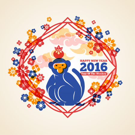 lunar new year: Chinese 2016 New Year Creative Concept with Colorful Monkey and Peach.  Illustration