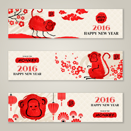 happy  new: Horizontal Banners Set with Hand Drawn Chinese New Year Monkeys.