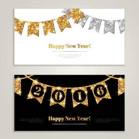 silver anniversary: Happy New Year 2016 Banners Set with Flags Garlands.